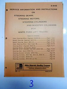 White Fork Lift Truck Service Info Instructions Steering Gears Motors Cylinders