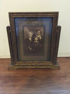 Vintage Art Deco Gold Mirror Wood Frame Free Standing Rotating With Cabinet Card