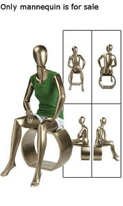 New Retails Metallic Gold Female Sitting Mannequin 4 5 Tall