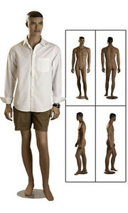 New Retails Round Based Fiberglass Full Body Ethnic Male Mannequin 6 1 Tall