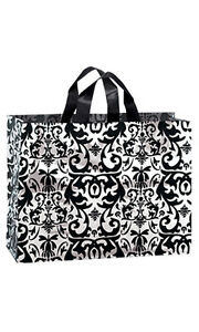 Count Of 100 Large Black Damask Frosted Plastic Shopping Bags 16 x6 x12