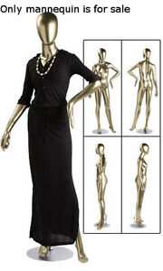 New Retails Metallic Gold Female Mannequin With Oval Shaped Head 5 10 Tall