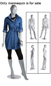 New Retails Metal Based Silver Glossy Female Mannequin With Head 5 10 Tall