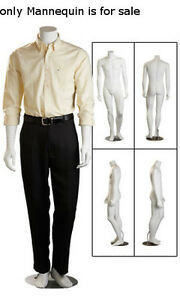 New Cameo Finished Headless Fiberglass Male Mannequin With Chrome Metal Base