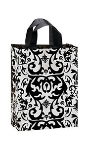 Count Of 100 Bags Medium Black Damask Frosted Plastic Shopping Bags 8 x 5 x10