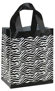 Count Of 100 Medium Frosted Plastic Zebra Print Shopping Bag 8 x5 x10