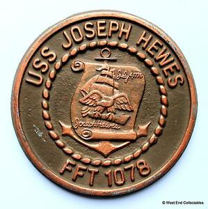 Uss Joseph Hewes Old United States Navy Ship Metal Tampion Plaque Badge Crest