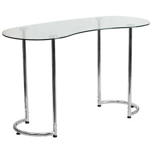 Modern Contemporary Desk With Clear Tempered Glass With Chrome Frame Finish