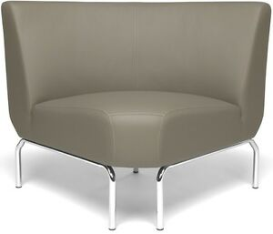 Armless 90 Degree Office Lounge Chair With Vinyl Seat And Chrome Feet In Taupe