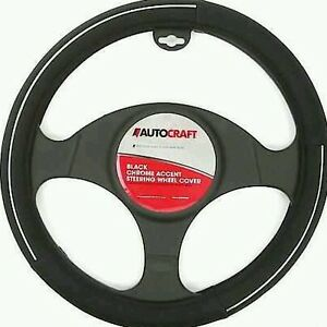 Chrome Accent Steering Wheel Cover Black