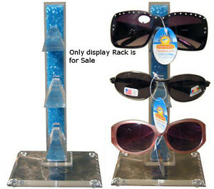 New Retails Blue Acrylic Counter Top Sunglass Display Rack Holds 3 Pairs