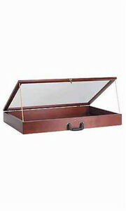 Portable 36 Wood Countertop Display Cases Velvet Cherry 24 w X 36 l X 4 d