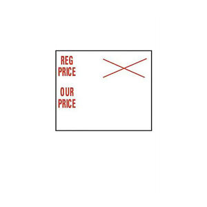 Reg Price our Price 2 line Pricing Sales Labels 0 75 H X 0 75 W Case Of 10