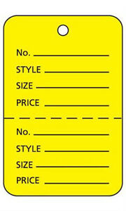 Box Of 1000 New Retails Large Yellow Unstrung Coupon Price Tags 1 w X 2 h