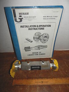 Meriam Lfe 50mj10 Type 11 Laminar Flow Element With Manual And Calibration Chart