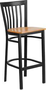 Black School House Back Metal Restaurant Barstool With Natural Finish Wood Seat