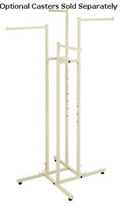 Ivory 4 way Boutique Clothing Display Rack Straight Arms 48 72 h