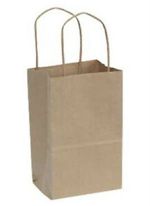 Count Of 250 Small Natural Kraft Paper Shopping Bags 5 w X 3 d X 8 h