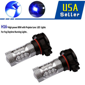 2x Super Bright White 9006 Hb4 60w Led Projector Drl Fog Driving Light Bulbs