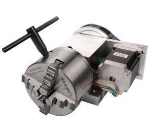 Hollow Shaft 4th Axis Cnc Router Rotational A Axis 4 Jaw 100mm Chuck Engraving