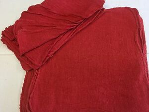 1000 Pack New Industrial Shop Rags Cleaning Towels Red Color 13x14