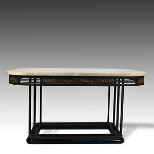 Vintage French Art Deco Style Entry Table Gilded Iron Marble France 20th C