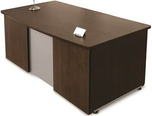 36 d X 72 w Contemporary Executive Office Desk In Walnut Finish Office Desk