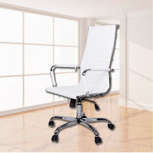 High back Executive Office Chair White Ribbed Pu Leather Computer Desk Ergonomic