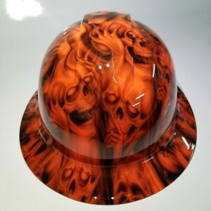 Hard Hat Custom Hydro Dipped osha Approved Full Brim Hear No see No Evil Skulls