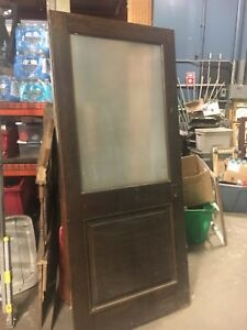 C1950 Quartersawn Oak Paneled Door With Glass Italian American Home 82 X 36 25