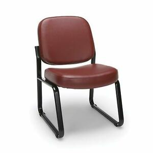 Anti bacterial Wine Vinyl Reception Office Side Chair Waiting Room Chair