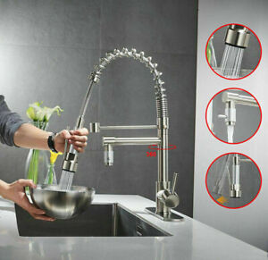 Commercial Brushed Nickel Pull Down Sprayer Kitchen Faucet Single Handle Mixer