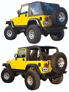 Rampage 2 In 1 Frameless Sailcloth Soft Top For 1997 2006 Jeep Wrangler Tj