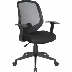 Medical Office Task Chair With Arms In Black Fabric Clinic Receptionist Chair