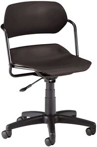 Medical Office Task Chair In Black Contour Plastic W arms Clinic Office Chair