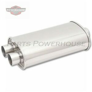 Vibrant 1111 Oval Muffler 3 Inlet X Dual 2 Outlet Center Dual