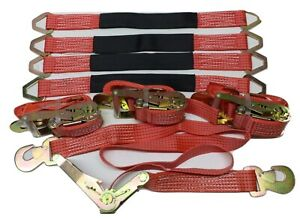 Set Of 4 6ft Ratchet Tie Down Straps W flat Hooks 4 2 Ft Axle Straps Red