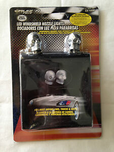 Chrome Skull Universal Windshield Washer Jet Spray Nozzle White Led
