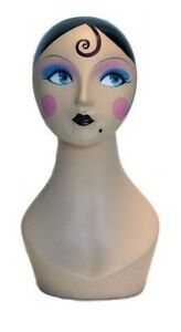 Mn 225 Female Mannequin Head Form With Colorful Vintage Style Painted Look