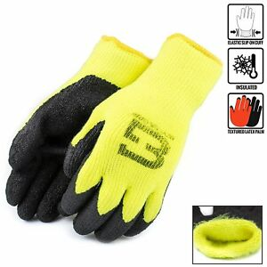 Hi vis Lime Insulated Winter Rubber coated Gloves Crinkle Finished bgwlac lm