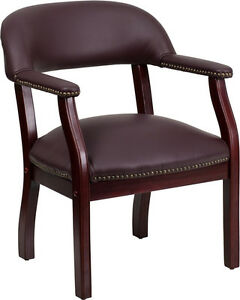 Flash Furniture Burgundy Leather Luxurious Conference Side Chair