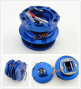 Universal Blue Jdm Seamless Steering Wheeel Racing Quick Release Hub 6 Holes