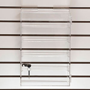 New Retails 4 Shelves Acrylic Slatwall Showcase 10 w X 15 h X 5 d