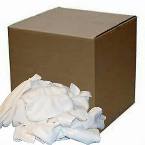 50 Lb Box Cotton White Terry Cloth Cleaning Towels Janitorial Plumbers Rags