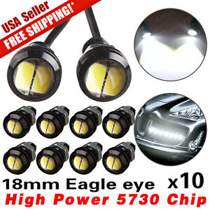 10 X Pure White 5730 9w 18mm Eagle Eye Led Car Motor Drl Backup Lights Bulbs 12v