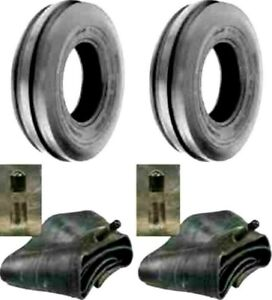 Two New 5 50 16 Tri rib 3 Rib Front Tractor Tires Tubes 6 Ply Rated Heavy Duty