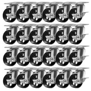 24 Large All Steel Swivel Plate Caster W Brake Lock Heavy Duty 3 5 Wheel
