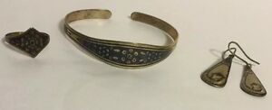 Antique Vintage Russian Soviet Silver 875 Niello Bracelet Ring Earring Set