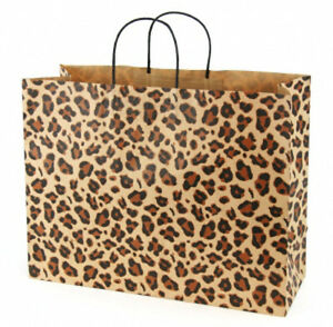 Case Of 100 Large Leopard Brown Kraft Shopping Bags 16 X 6 X 12