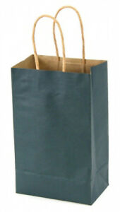 Case Of 100 Small Navy Blue Kraft Shopping Bags 5 25 X 3 25 X 8 38